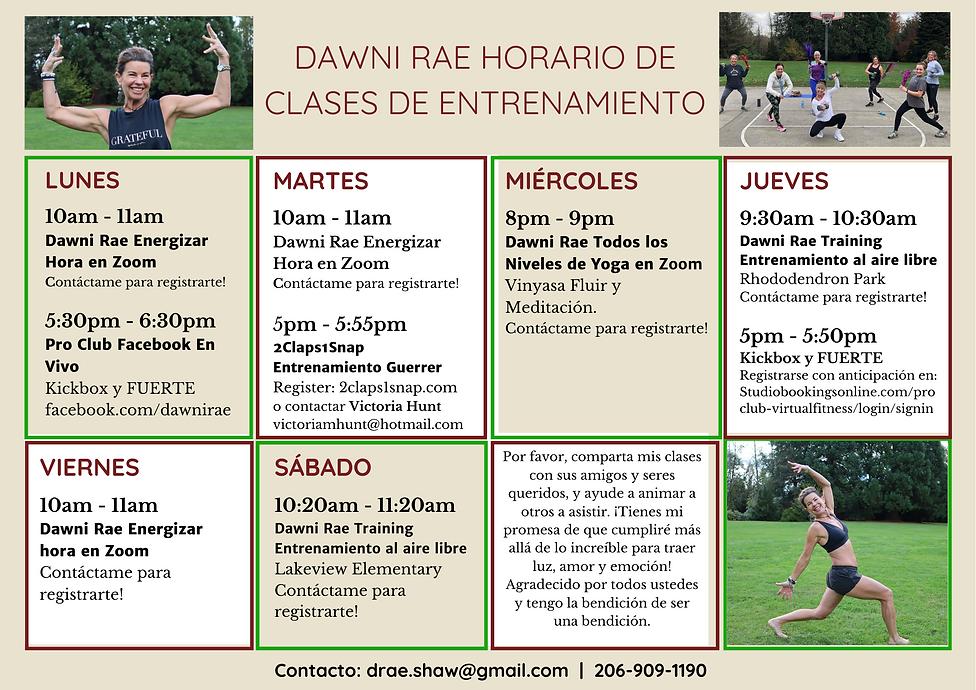 Spanish Version Dawni Rae Workout Schedu
