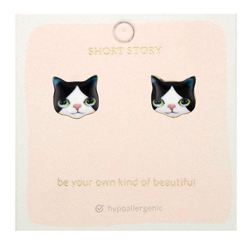 Black& White Kitten Stud Earrings