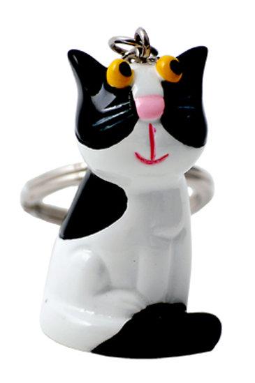 Black & White Cat Keyring