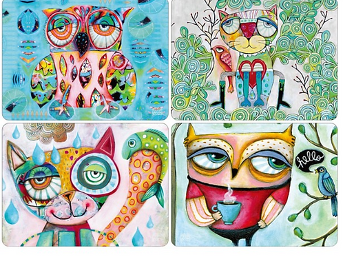 Wise Critters - Placemats  - Owls & Cats
