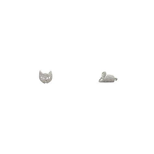 Cat & Mouse Earrings - Silver