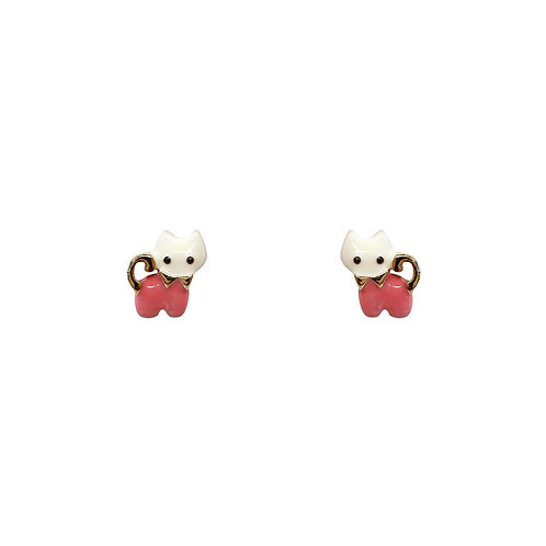 Pink Kitten Earrings