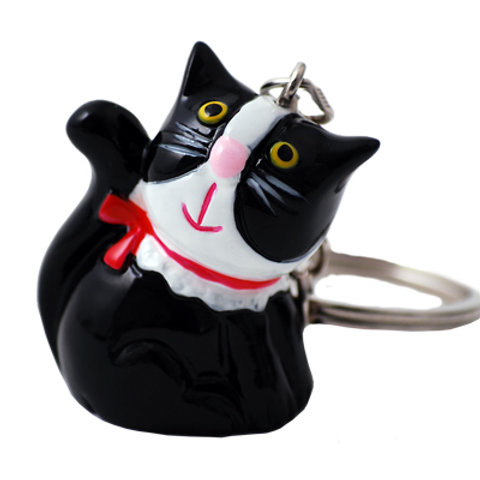Black & White Cat with Red Bow Keyring