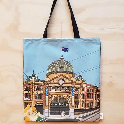 Melbournian Moggie Tote - Flinders St Station