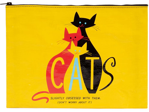 Cats - Slightly Obsessed with Them -Large Zippered Pouch