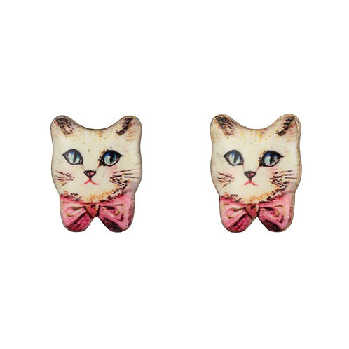 White Cat Pink Bow Earrings