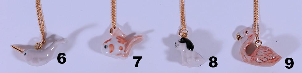 Porzellananhänger mit Kette, 24 Karat vergoldet, 45cm oder 60cm, 48.-