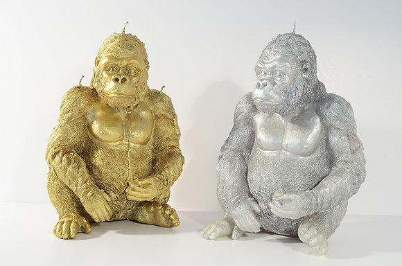 Gorilla, silbern, golden, neonpink