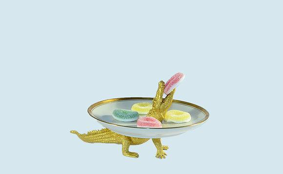 Krokodil- Etagere Gold