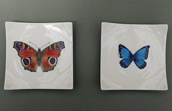 Apéroplättchen_Schmetterling Blau/Rot