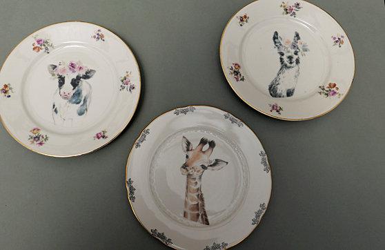 Kuh, Giraffe, Lama