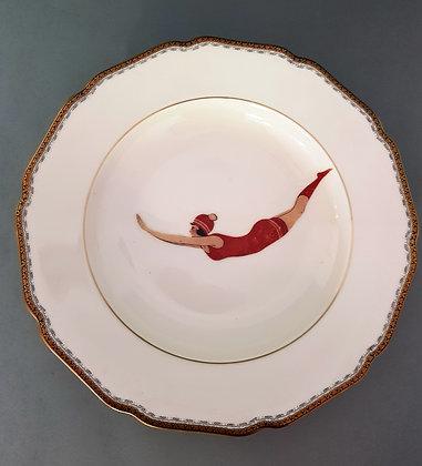 Suppen- oder Spaghettiteller Schwimmerin