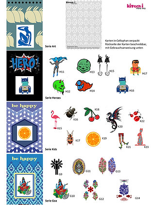 Tatoos einzeln,  4 Serien (Art/Kids/Hero/Goa)