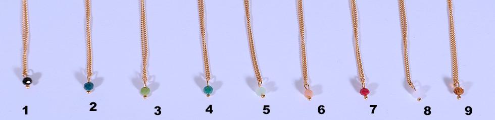 Ketteli mit Glasperle, 24 Karat vergoldet, 45cm oder 60cm, 31.-