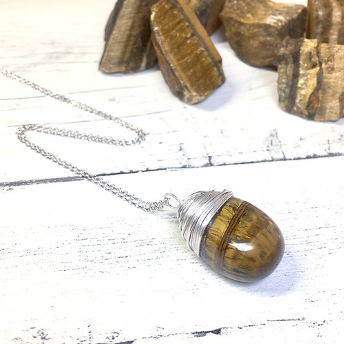 Tigers Eye Crystal Necklace In Sterling Silver