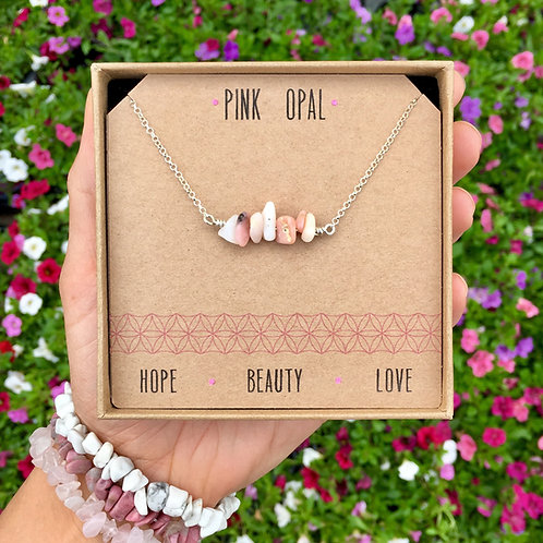 Pink Opal Crystal Necklace In Sterling Silver