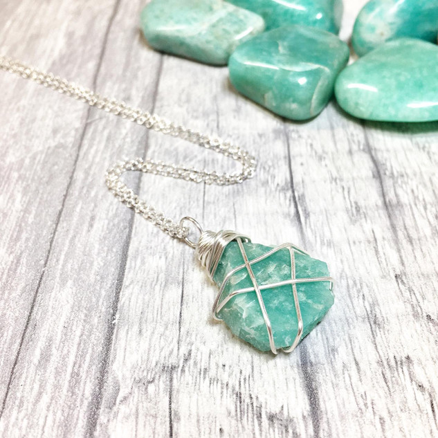 Raw Amazonite Crystal Necklace in Sterling Silver and Tumbled Stones