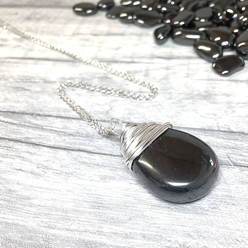 Hematite Crystal Necklace In Sterling Silver
