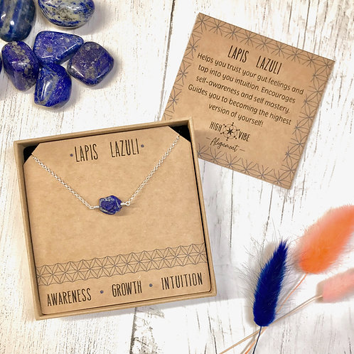 Lapis Lazuli Crystal Necklace In Sterling Silver
