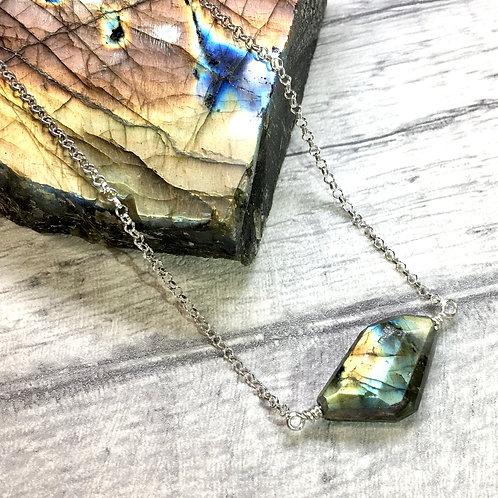 Labradorite Crystal Necklace In Sterling Silver