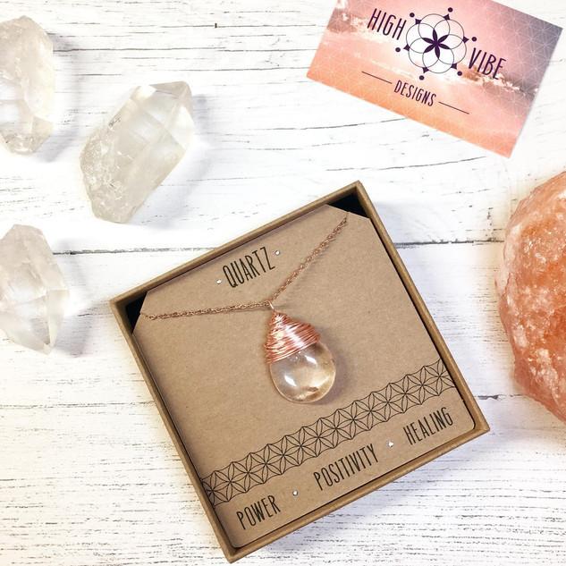 Polished Quartz Crystal Neckace