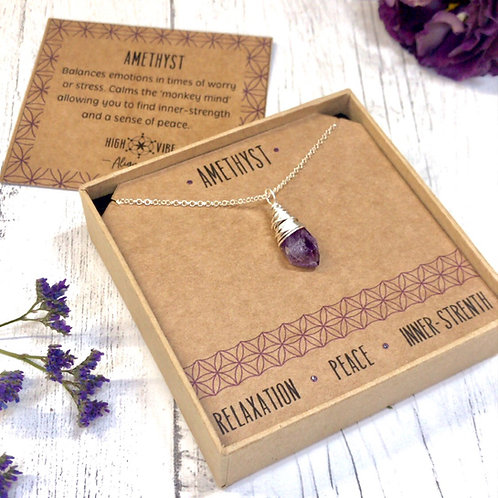 Amethyst Crystal Necklace In Sterling Silver