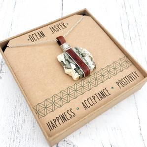 Ocean Jasper Crystal Necklace - Leather & Sterling Silver Design