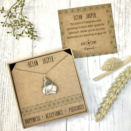 Ocean Jasper Crystal Necklace In Sterling Silver