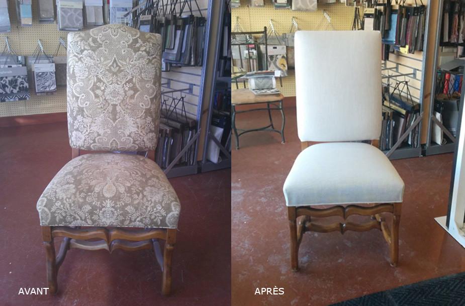 Rembourage d'une chaise antique
