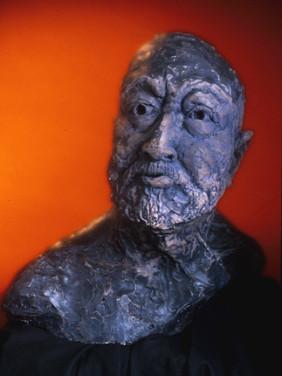 Double life-size ceramic figurative sculpture