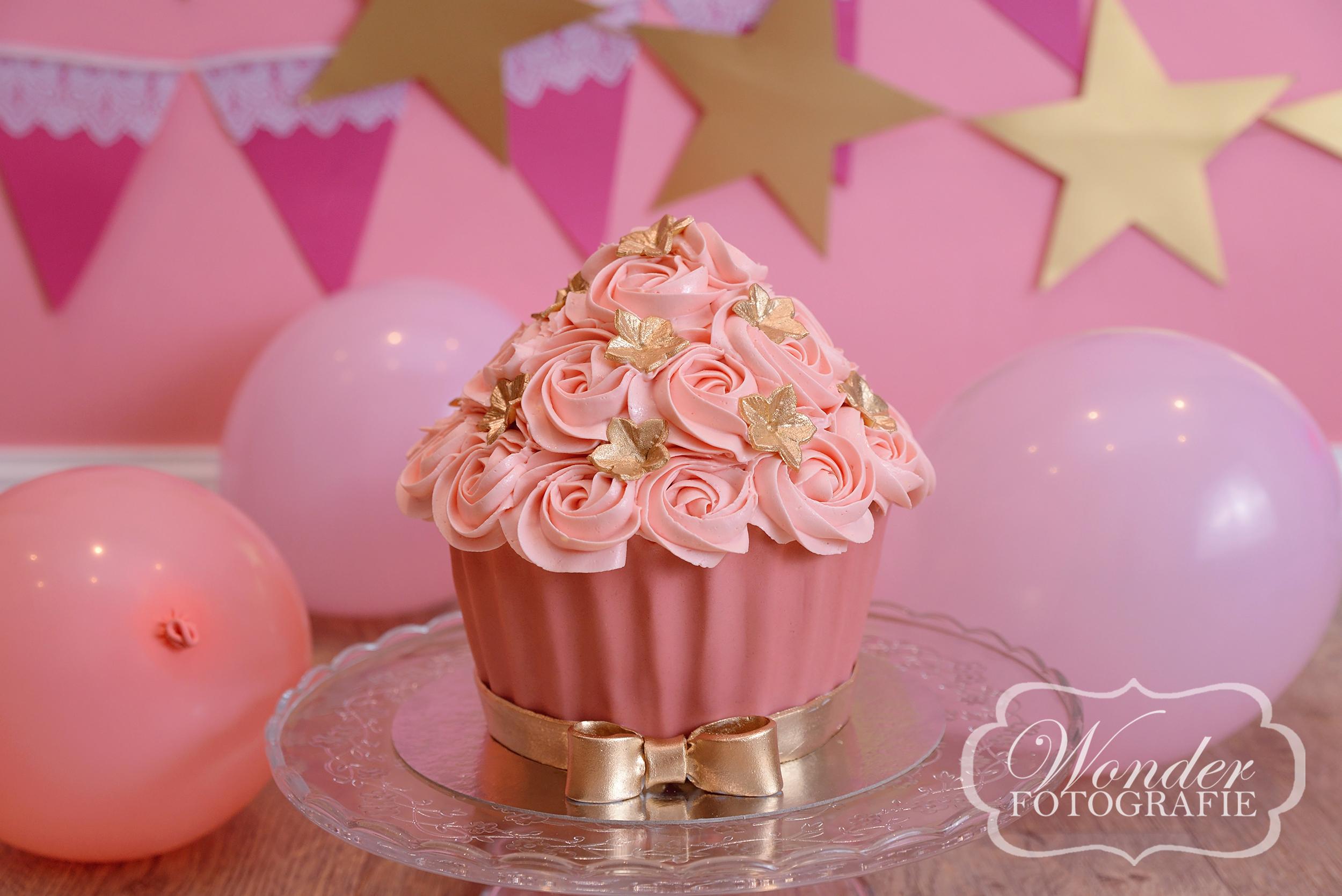 Cake Smash roze goud sterren - Wonder Fotografie