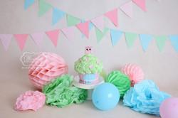 Cake Smash Fotoshoot pastel tinten kleuren uil inspiratie meisje