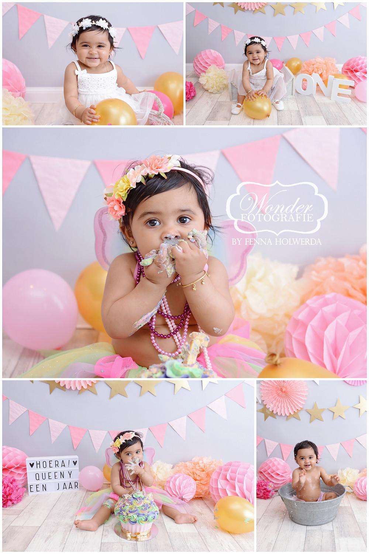 unicorn cake smash taart eerste verjaardag fotoshoot shoot baby studio