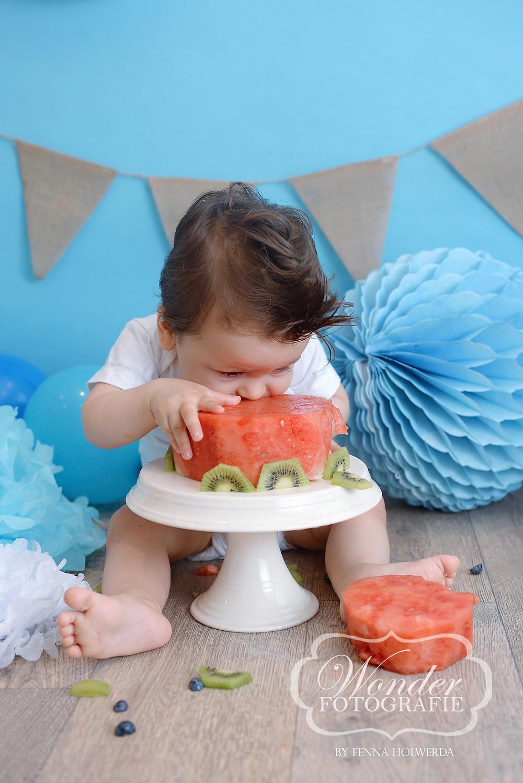 Gezonde Cake Smash Fotoshoot Fruittaart Watermeloen Fruit Taart zonder suiker