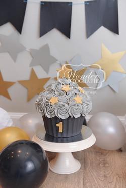 Cake smash fotoshoot taart giant cupcake thema inspiratie jongen meisje19