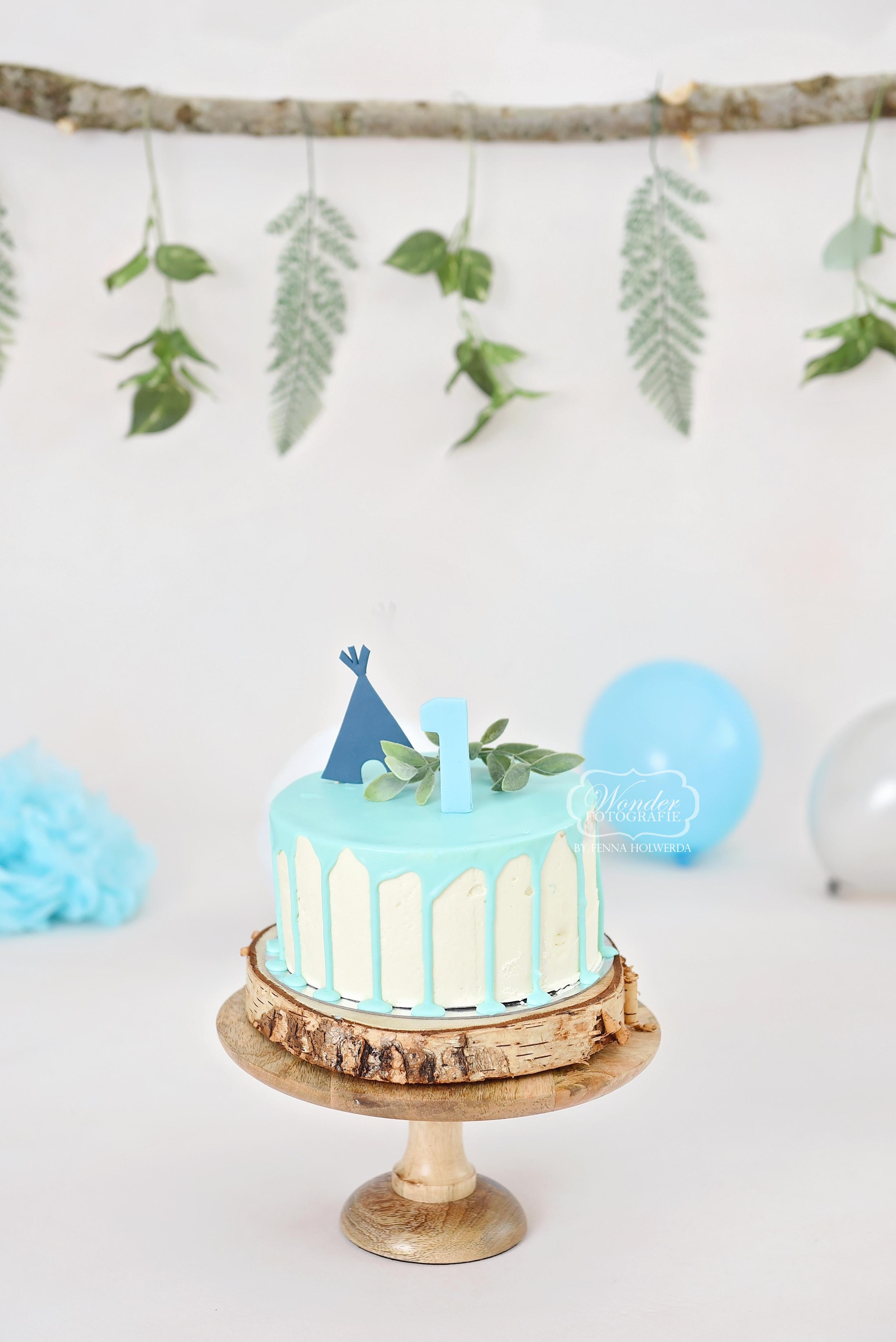 Boho Cake Smash Fotoshoot babyblauw lic