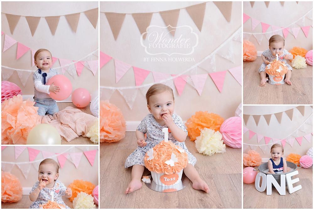 Cake Smash Fotoshoot Tess roze creme zalm perzik