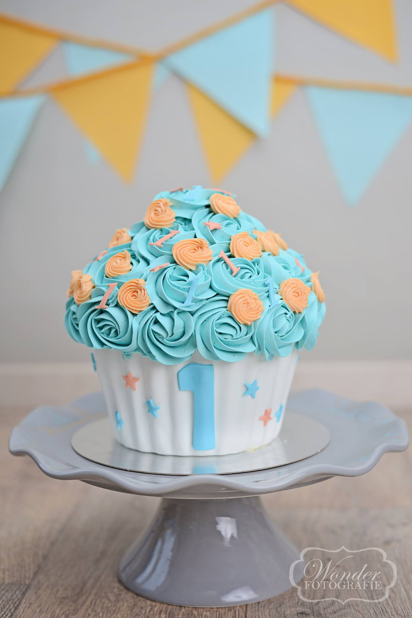 Cake Smash BlauwOranje - Wonder Fotografie