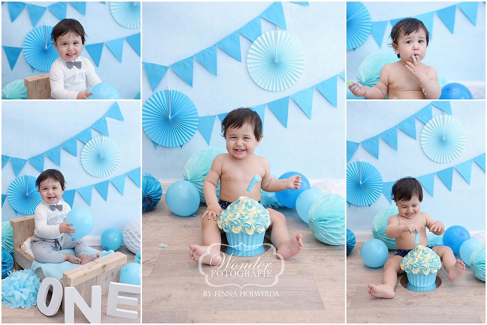 Cake Smash fotoshoot blauw jongen fotoshoot eerste verjaardag photoshoot baby
