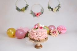 Roze Ruffle taart bloemen cirkels cake smash fotoshoot
