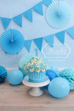 blauw creme taart giant cupcake eerste verjaardag 1 jaar