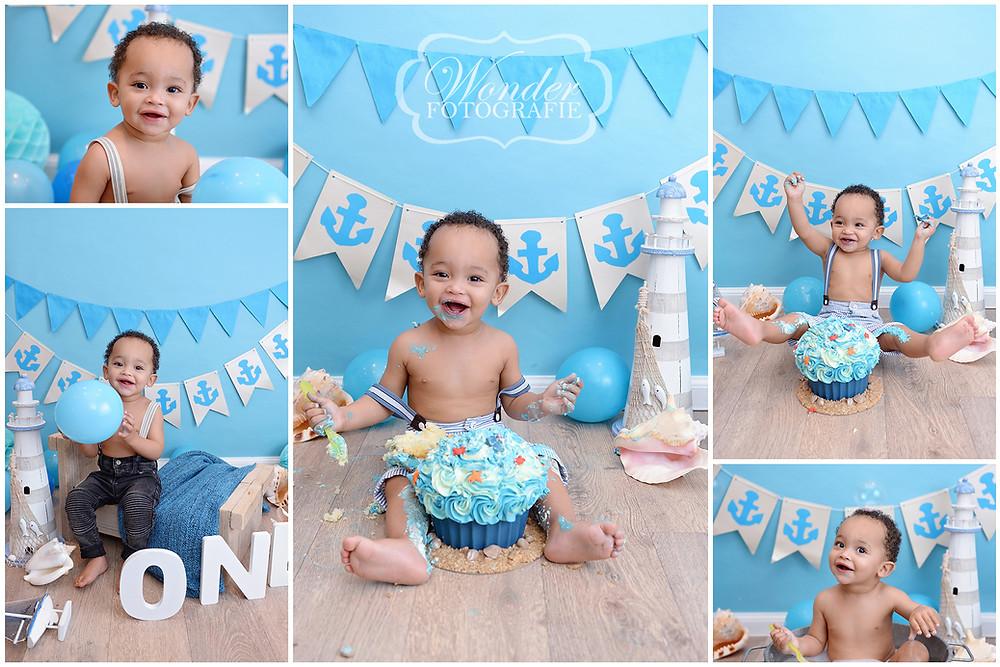 cake smash fotoshoot blauw strand zee babyfotoshoot eerste verjaardag