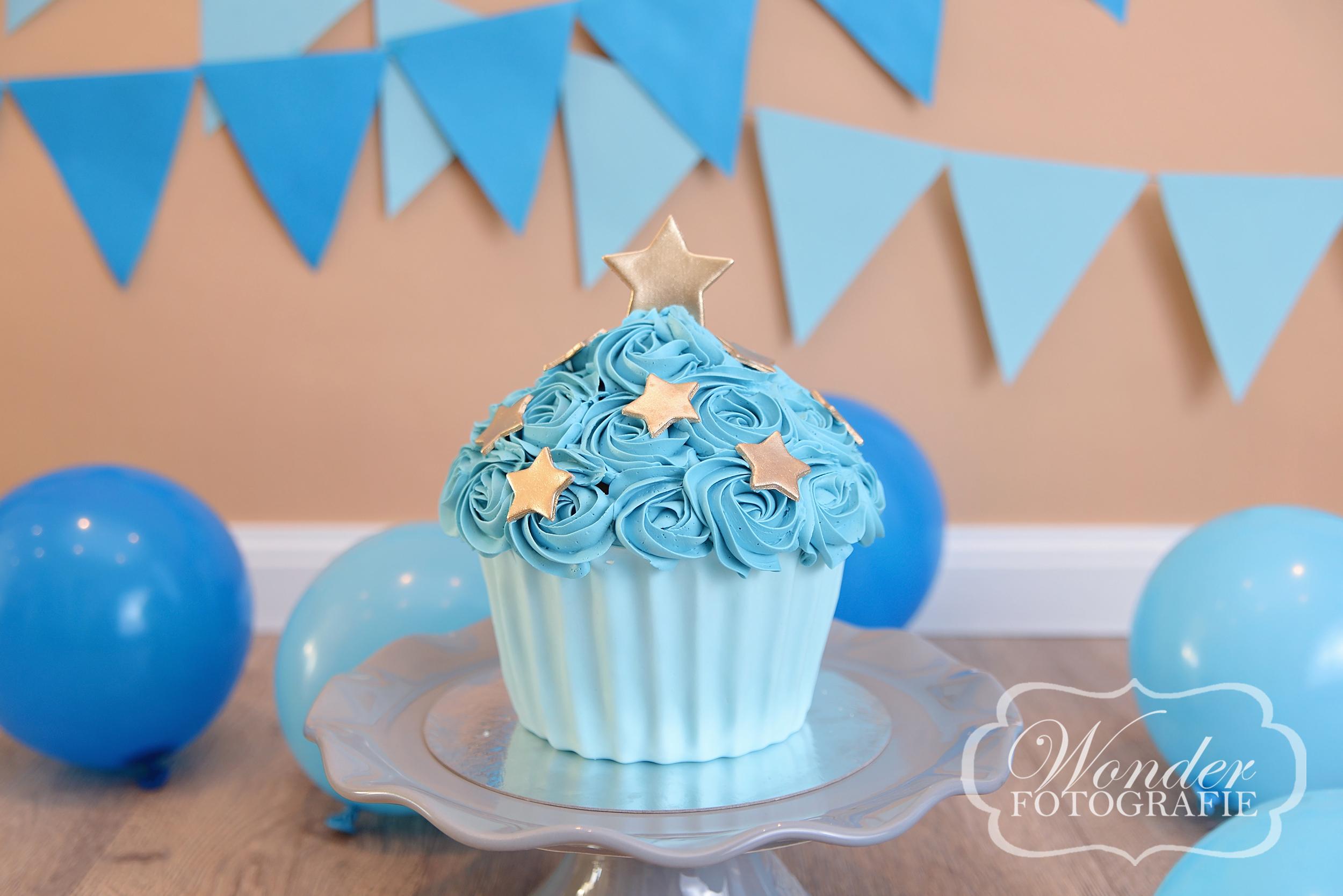 Cake Smash Blauw Bruin Vintage - Wonder Fotografie