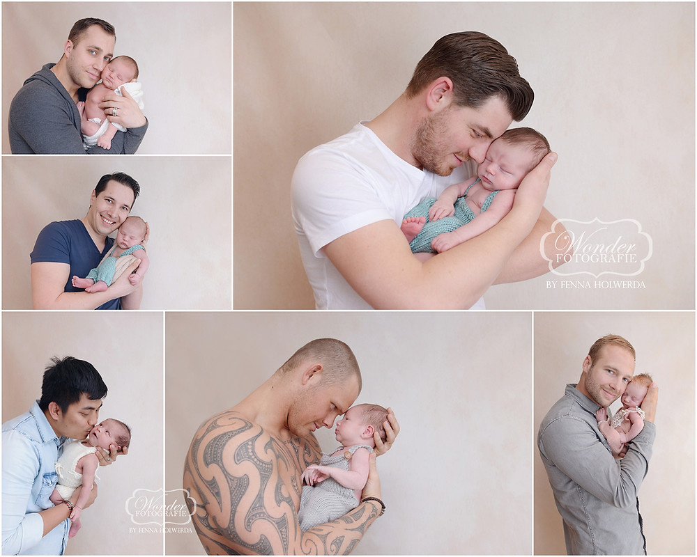 vader baby foto father newborn picture poses papa vaderdag collage