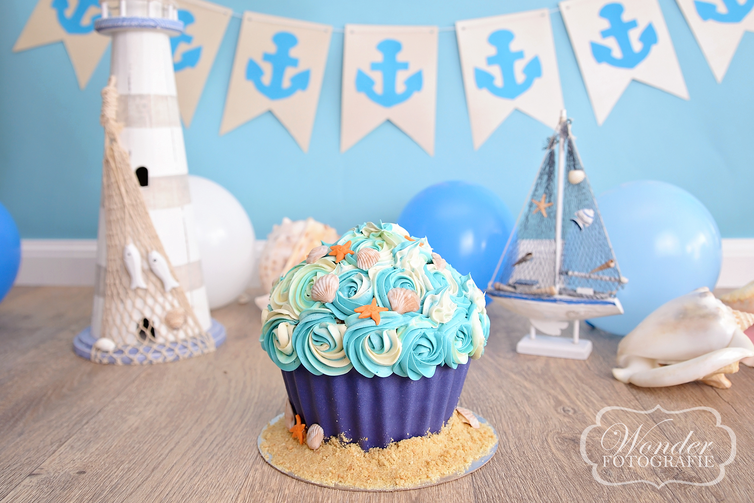 Cake Smash taart Strand thema