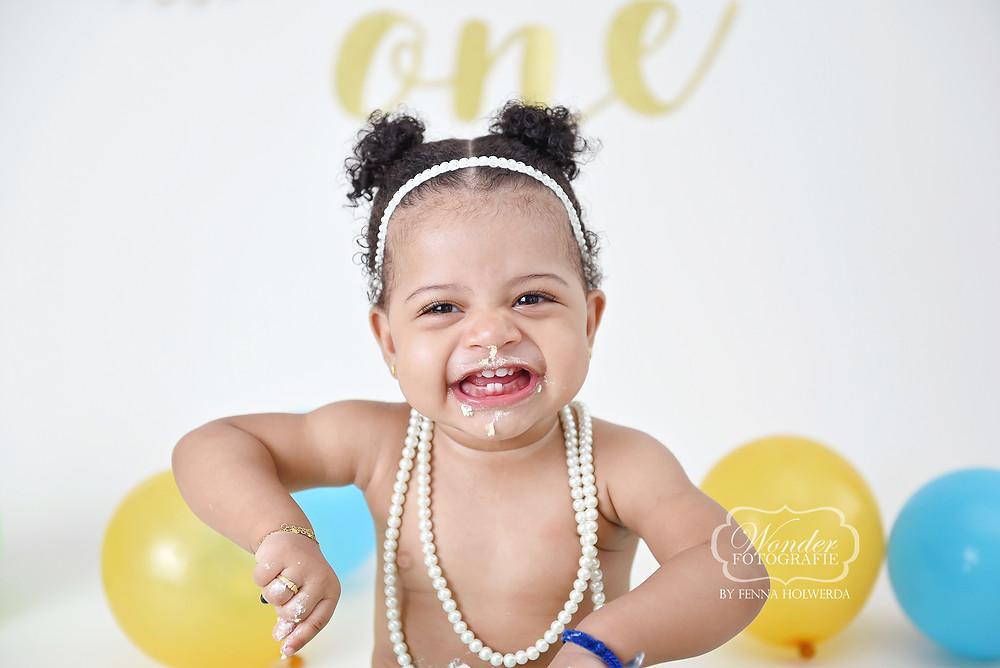 Boho cake smash fotoshoot naturel puur meisje girl verjaardag baby shoot