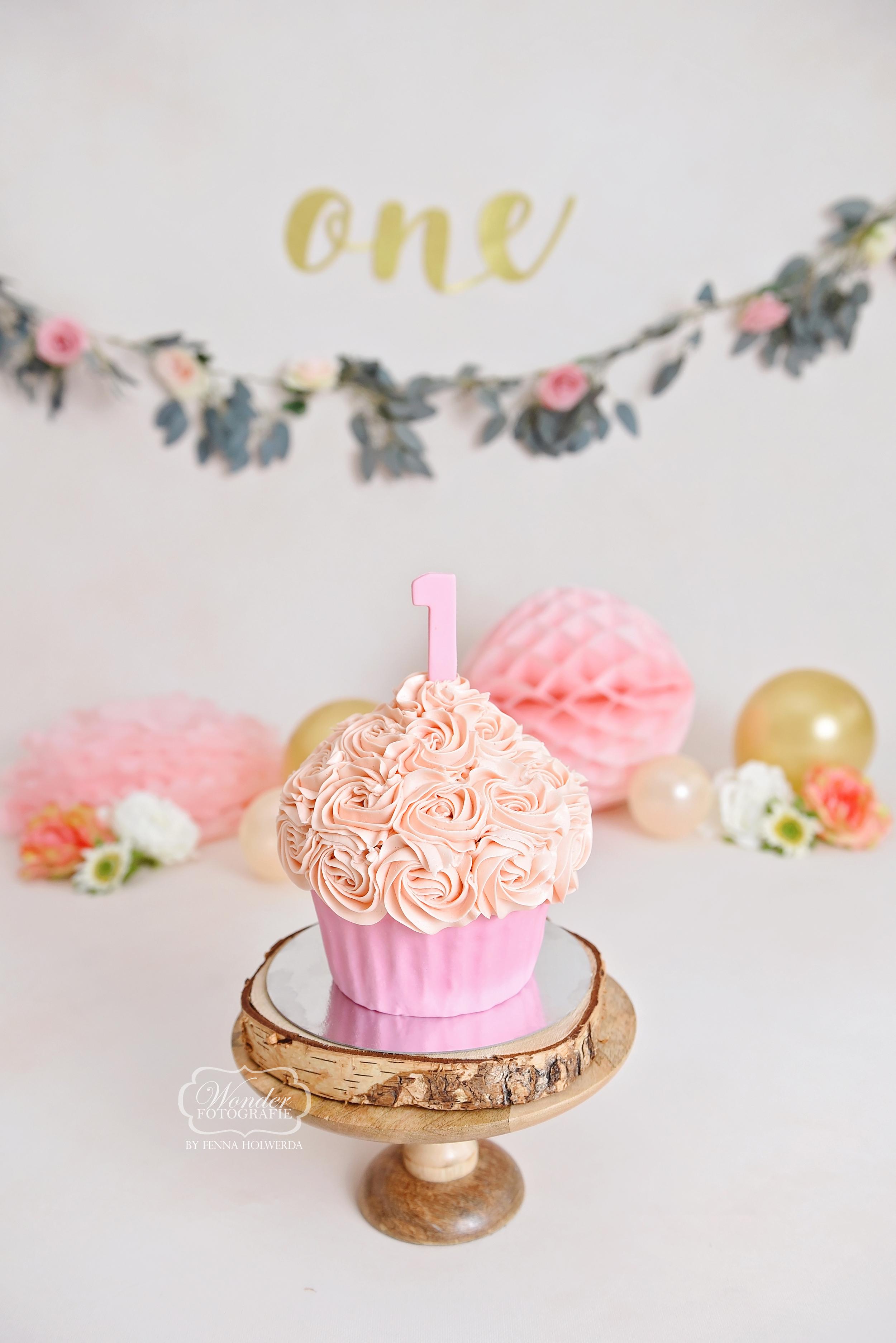 Boho Cake Smash Fotoshoot cupcake roze