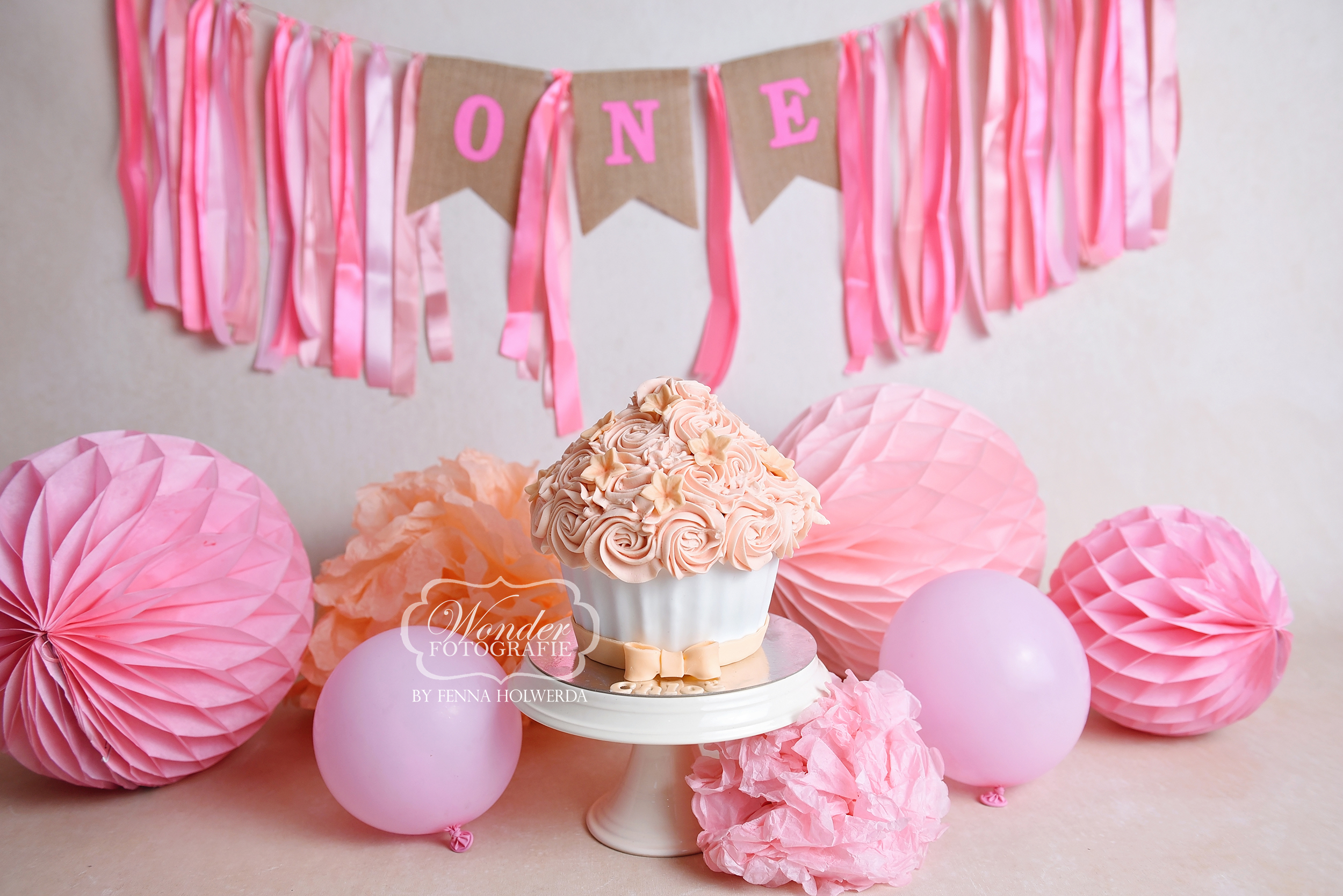 giant cupcake roze pink cake smash shoot fotoshoot photoshoot