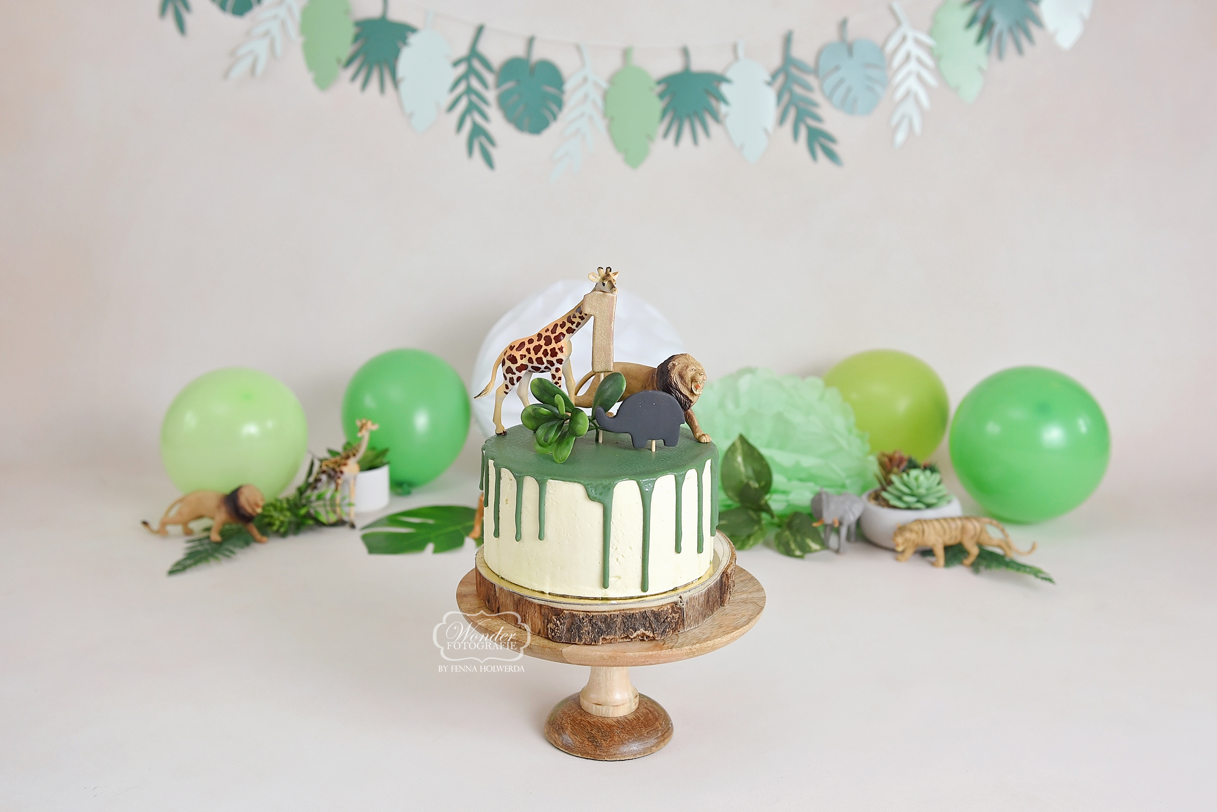 Jungle Groen Dripcake cake smash fotoshoot