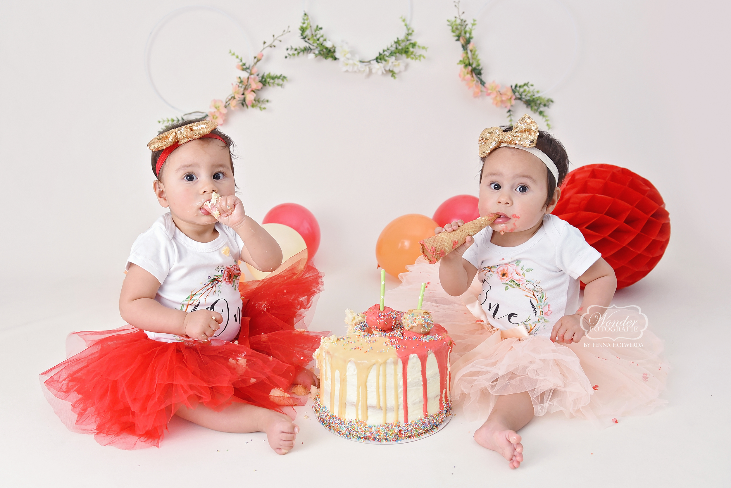 Boho Cake Smash tweeling twins fotoshoot photo shoot fotografie